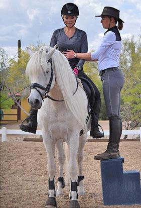 Riding white horse